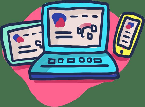 Illustration Webdesign mit Laptop, Tablet und Smartphone