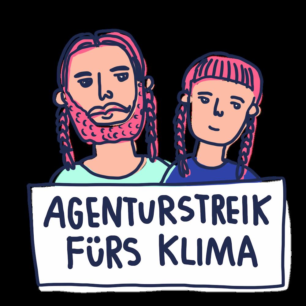 """Illustration von Philipp und Stephie mit Greta Thurnberg Zöpfen und Schild: """"Agenturstreik fürs Klima"""""""